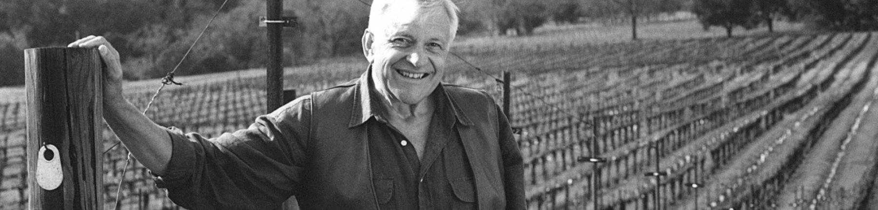 Jackson Family Wines founder Jess Jackson in his vineyard in the early days of the company