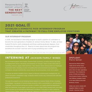 Jackson Family Wines Responsibility Report - Internships